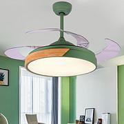 北欧隐形吊扇灯现代客厅静音LED风扇灯餐厅家用马卡龙风扇吊灯