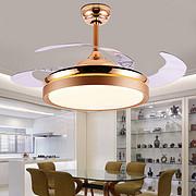 法国金隐形吊扇灯 餐厅风扇灯简约现代家用客厅电扇灯卧室带led风扇吊灯