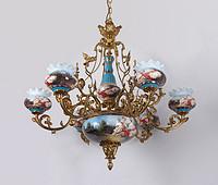 欧式陶瓷6头铜灯