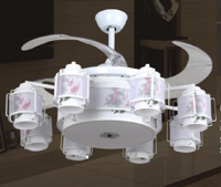 FSD-2948-8中式白色花纹优雅风扇灯