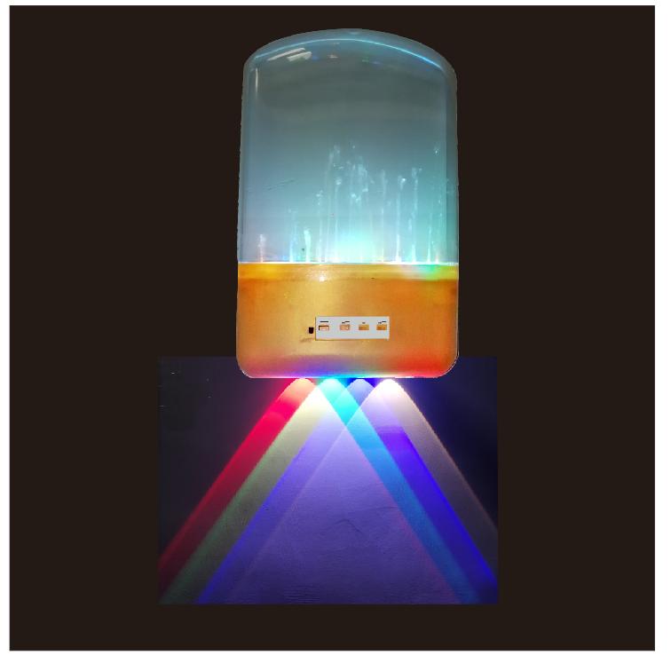 RGB七彩变幻暖光音乐喷泉壁灯