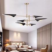 现代黑色灯罩暖光三层吊灯