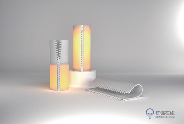 led,台灯,今年最有创意的一盏灯……开关竟然是拉链 拉在一起就能亮!