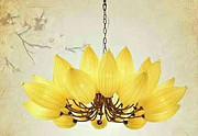 古典中国风黄色莲花餐吊灯