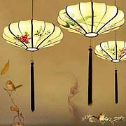 古典中国风手绘国画灯笼餐吊灯