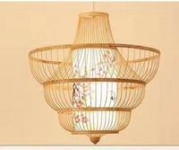 新中式创意竹编桃花灯芯吊灯