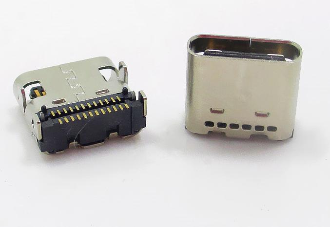TYPE-C 3.1母座24P两排端子贴片8.0mm四脚插脚板上有柱